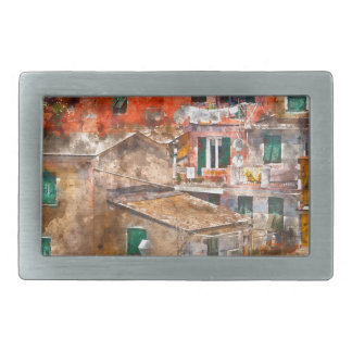 Colorful Homes in Cinque Terre Italy Belt Buckle