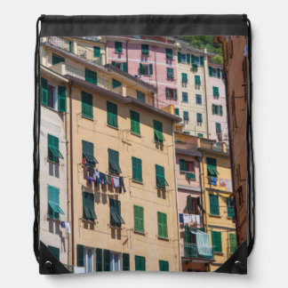 Colorful Homes in Cinque Terre Italy Drawstring Bag
