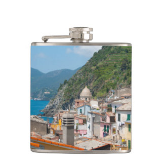 Colorful Homes in Cinque Terre Italy Flask