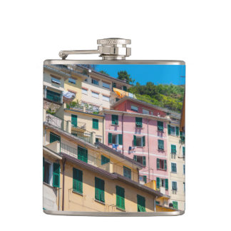 Colorful Homes in Cinque Terre Italy Flasks