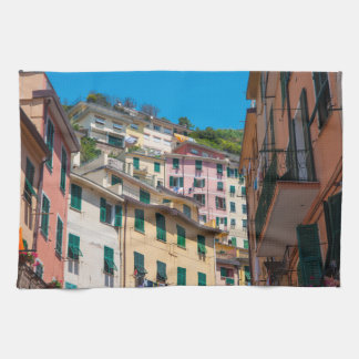 Colorful Homes in Cinque Terre Italy Kitchen Towel