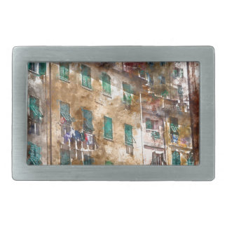 Colorful Homes in Cinque Terre Italy Rectangular Belt Buckles