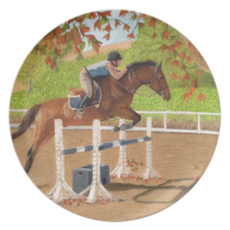 Colorful Horse & Rider Jumping Dinner Plates