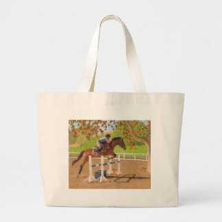 Colorful Horse & Rider Jumping Large Tote Bag