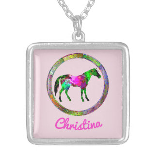 Colorful Horse Silver Plated Necklace