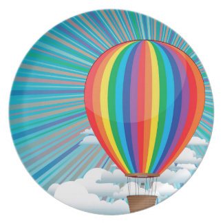 Colorful Hot Air Balloon Plate