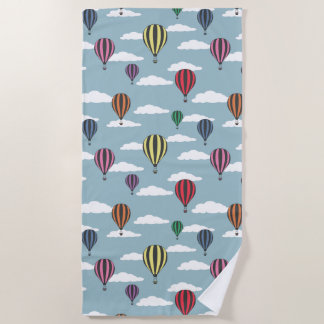 Colorful hot air balloons beach towel