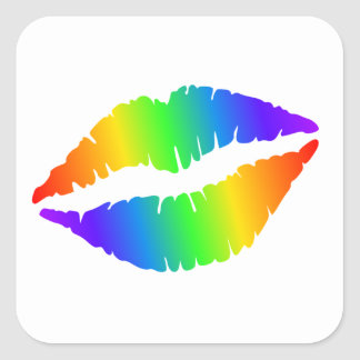Colorful Hot Lips Small Glossy Square Stickers