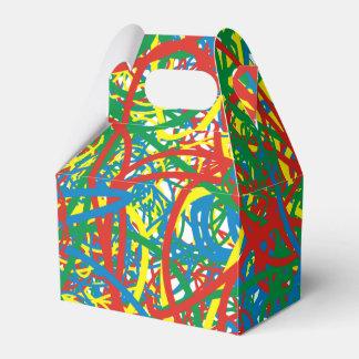 Colorful hot mess blast multi color splash rainbow favor box