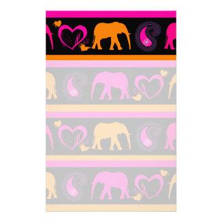 Colorful Hot Pink Orange Elephants Paisley Hearts Stationery