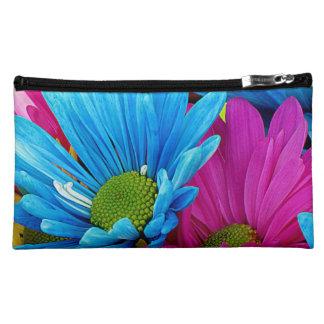 Colorful Hot Pink Teal Blue Gerber Daisies Flowers Makeup Bag