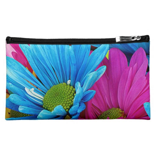 Colorful Hot Pink Teal Blue Gerber Daisies Flowers Makeup Bags
