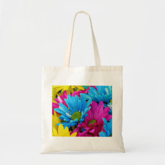 Colorful Hot Pink Teal Blue Gerber Daisies Flowers Canvas Bag