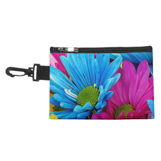 Colorful Hot Pink Teal Blue Gerber Daisies Flowers Accessory Bags