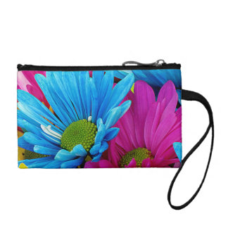 Colorful Hot Pink Teal Blue Gerber Daisies Flowers Coin Wallets