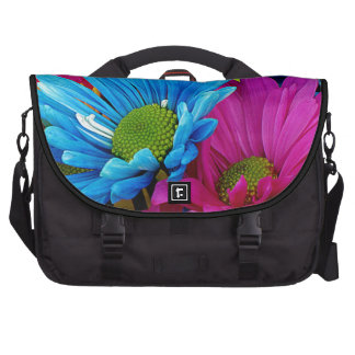 Colorful Hot Pink Teal Blue Gerber Daisies Flowers Laptop Commuter Bag