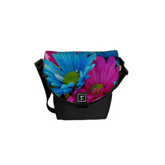 Colorful Hot Pink Teal Blue Gerber Daisies Flowers Messenger Bags