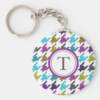 Colorful houndstooth pattern keychain