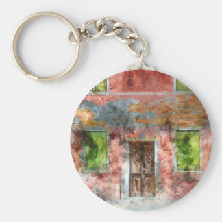 colorful house in Burano island Venice Italy Basic Round Button Keychain