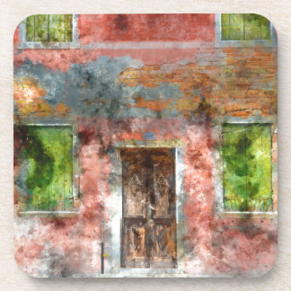 colorful house in Burano island Venice Italy Beverage Coaster