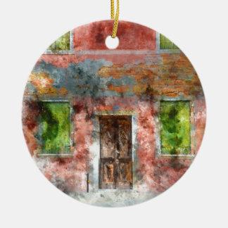 colorful house in Burano island Venice Italy Round Ceramic Ornament