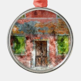 colorful house in Burano island Venice Italy Silver-Colored Round Ornament