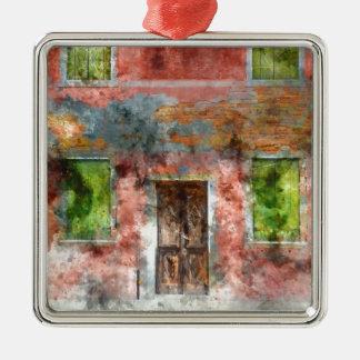 colorful house in Burano island Venice Italy Silver-Colored Square Ornament