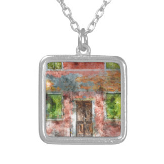 colorful house in Burano island Venice Italy Silver Plated Necklace