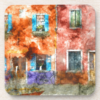 Colorful houses in Burano island, Venice Beverage Coasters