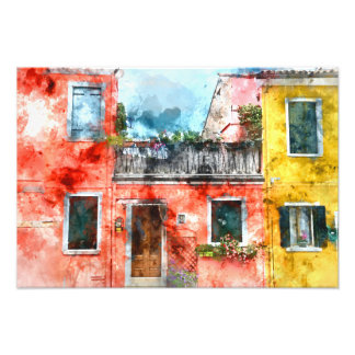 Colorful houses in Burano island Venice Italy Art Photo