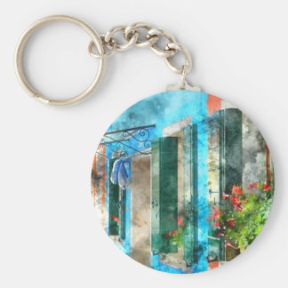 Colorful houses in Burano island Venice Italy Basic Round Button Keychain