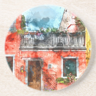 Colorful houses in Burano island Venice Italy Coasters