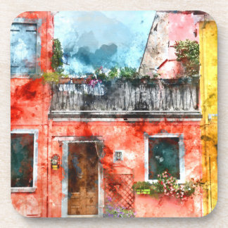 Colorful houses in Burano island Venice Italy Drink Coaster