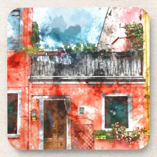 Colorful houses in Burano island Venice Italy Drink Coasters