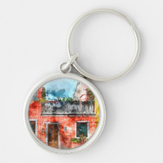 Colorful houses in Burano island Venice Italy Silver-Colored Round Keychain