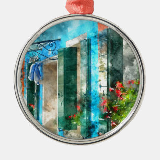 Colorful houses in Burano island Venice Italy Silver-Colored Round Ornament