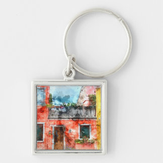 Colorful houses in Burano island Venice Italy Silver-Colored Square Keychain