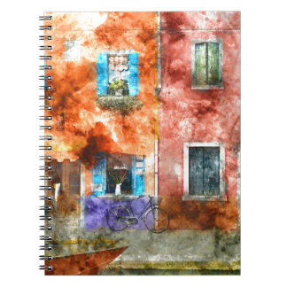 Colorful houses in Burano island, Venice Spiral Note Books