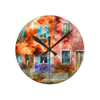Colorful houses in Burano island, Venice Wall Clocks