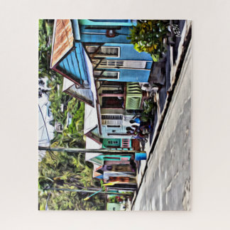 Colorful houses in St-Lucia, Virgin Islands Jigsaw Puzzle