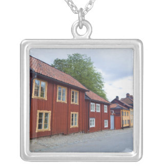 Colorful houses, Lotsgatan, Södermalm, Stockholm Silver Plated Necklace