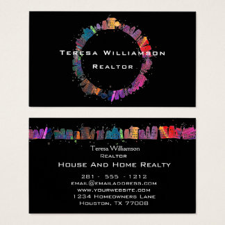 Colorful Houses Modern Artistic Real Estate Business Card