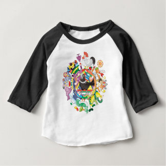 Colorful hue circle gradation and black and white baby T-Shirt