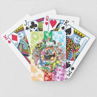 Colorful hue circle gradation and black and white bicycle playing cards