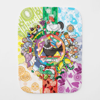 Colorful hue circle gradation and black and white burp cloth