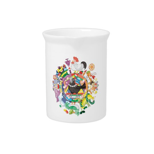Colorful hue circle gradation and black and white pitcher