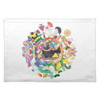 Colorful hue circle gradation and black and white placemat