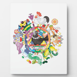Colorful hue circle gradation and black and white plaque