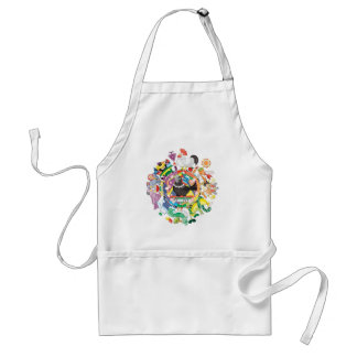 Colorful hue circle gradation and black and white standard apron