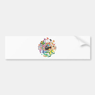 colorful hue circle gradation with black and white bumper sticker